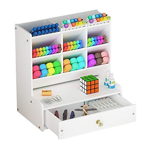 Organizador de escritorio blanco, gran capacidad, caja de soporte para bolígrafo, estante de almacenamiento de escritorio para escuela, casa o oficina (B02)