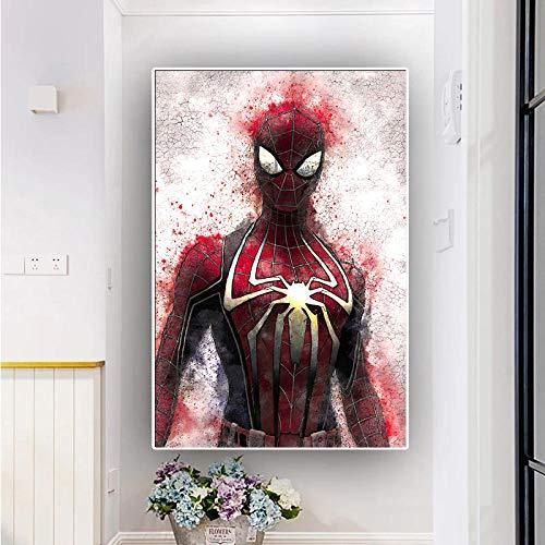 WKHRD Film Super-héros Impression sur Toile Peinture Spiderman Anime Mur Art décor Photo Maison Salon décoration Imprime Affiche | 60x90 cm (sans Cadre)