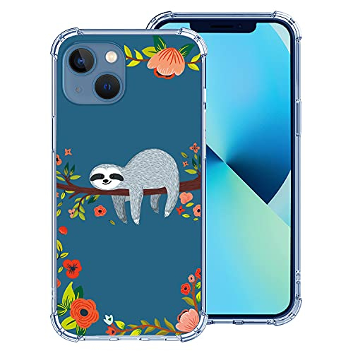 Hepix Case Compatible with iPhone 13 6.1 inch 2021, Funny Sloth Case Cute Animal Design Clear Floral Case, Soft Flexbile TPU Stylish Slim Thin Raised Lips Anti-Scratch Shockproof Protective Case