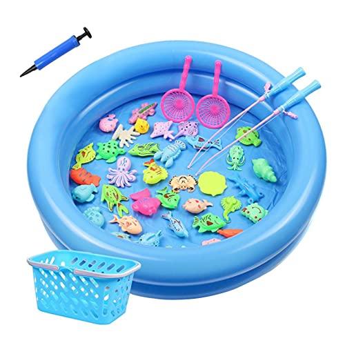 bozitian Juego de juguetes de pesca inflable, juguetes de pesca magnéticos juguete de agua para niños pequeños jugando en agua para niños verano piscina juguete