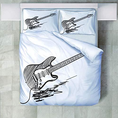 FAIEK Bettwäsche Set 1 Bettbezug 2 Kissenbezug - Bleistiftzeichnung Geige - Weihnachten Weich Und Bequem Atmungsaktiv Bettwäsche Erwachsener Kind Bettwäsche Mode Betten Set - 200X200Cm