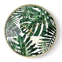 掛け時計 壁掛け時計単3電池式非カチカチ現代的なスタイルのリビングルーム寝室キッチンクリエイティブプラント時計の文字盤家の装飾クォーツ時計12インチ 置時計 (Color : A)