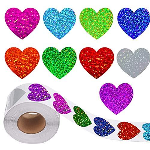 buycheapDG(JP) バレンタインデー ステッカー ハート型 8種類 ギフトシール 光沢のある ラッピングシール 封印シール 結婚式 手作り プレゼント 包装用 装飾 封筒シール 自己粘着ラベル アクセサリー 3.8 x 3.5cm 500 PCS
