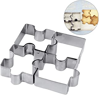 Yunko 4 Pcs Cookie Cutters Stainless Steel Fondant Cutter Set Puzzle Cookie Cutter for developing Children's Intellectual and Practical Skills