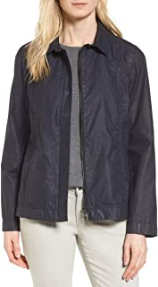 Eileen Fisher Waxed Cotton Back Pleat Zip Front Swing Women's Fall Jacket - Ink