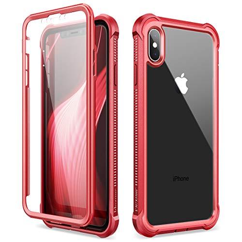 Dexnor Funda para iPhone X iPhone XS (5.8''), Carcasa con Parachoques de Silicona de 360 Grados, [A Prueba de Golpes] [Ligero] Panel Posterior Transparente, Protector de Pantalla Incorporado - Rojo