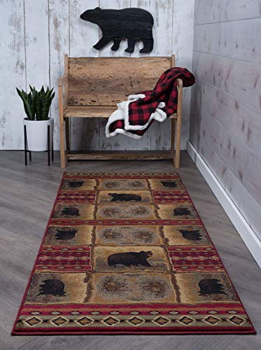 Sierra Bear Novelty Lodge Pattern Red Runner Rug, 2.7' x 7' - FEATURES: Handmade feel home decor rug, machine-made durability. Kid & pet friendly SPECS: Measures 2'7'' x 7'3'', Pile height of 0. 43 inch, secondary colors include beige, sage green, black EASY CARE: Stain, fade, mildew resistant, mothproof, shed-free, hypoallergenic, anti-static - runner-rugs, entryway-furniture-decor, entryway-laundry-room - 51wi2 Q 4JL -