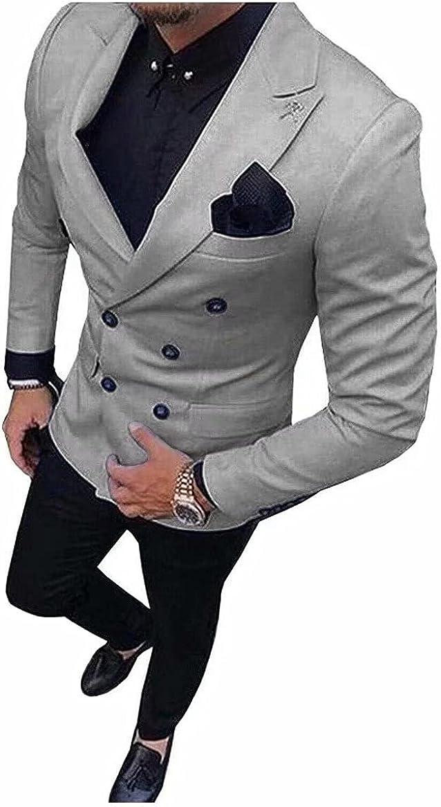 2021 Groomsmen Double Breasted Groom Tuxedo Peak Lapel Male Suits Wedding Best Man Blazer (Jacket+Pant)
