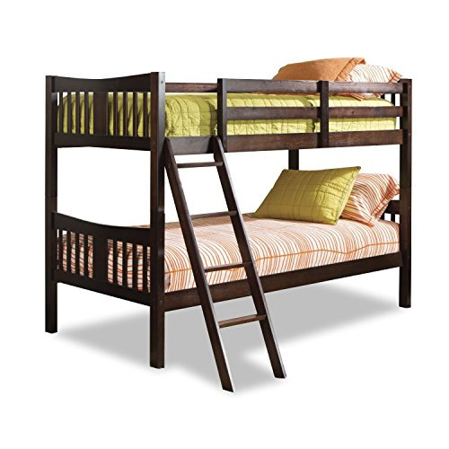 StarSun Depot Twin Over Twin Solid Wood Bunk Bed in Espresso Finish