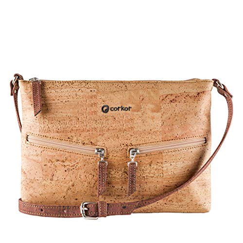 Travel Cross-Body Bag for Women - Front Pockets - Vegan Brown Cork from Corkor