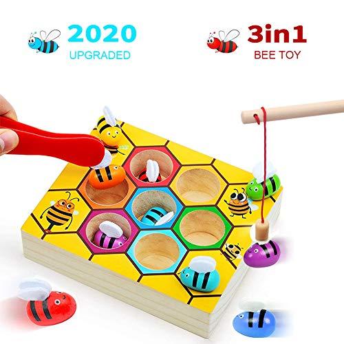 XIAPIA Juguetes de Madera Montessori,Juegos Niños 2 Años de Abejas Juegos Educativos Puzzle de Clasificación Infantiles Motricidad Fina para Descubre la Naturaleza con Montessori (Bee)