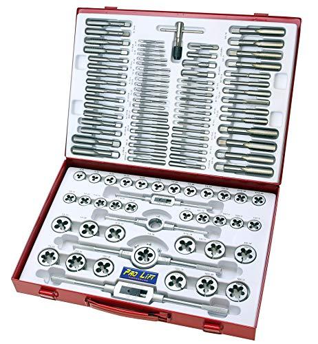 Pro-Lift-Werkzeuge Gewindeschneider Satz 110tlg. zöllig + metrisch Bohrer Wolframlegierung Set Werkzeug Schneider Zoll und metrisch 110-teilig Gewindebohrer