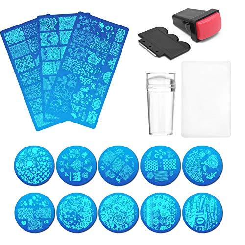 Nail Art Stamping Vorlagen Kit, 17PCS Maniküre Druck DIY Tool Set mit 13 Bildplatten, 2PCS Stamper, 2PCS Scraper für Natural Gel Nail
