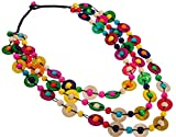 YONYou Bohemia Braided Women Neckalce Statement Colorful Round Wooden Beads Chain Shell Necklace Chunky Collar Novelty Jeweley for Women Costume Handmade Party Daily Jewelry