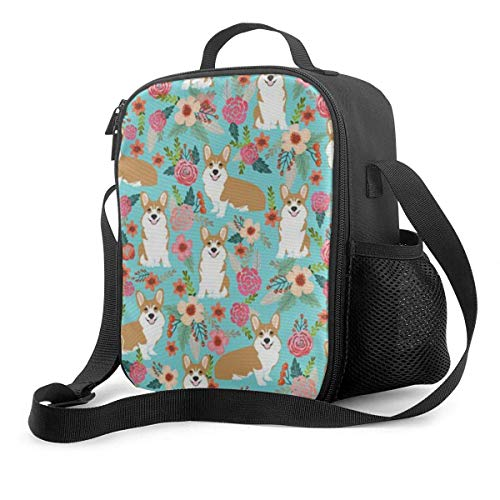 Premium Lunch Box,Corji Mint Florals Fabric Insulated Lunch Bag for Men Women Adult,Office Work Picnic Hiking Beach Lunch Box
