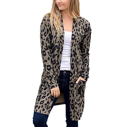 iHENGH Damen Herbst Winter Bequem Mantel Lässig Mode Jacke Frauen Langarm Leopardenmuster Tasche Mode Mantel Bluse T-Shirt Strickjacke Top(Schwarz, XL)