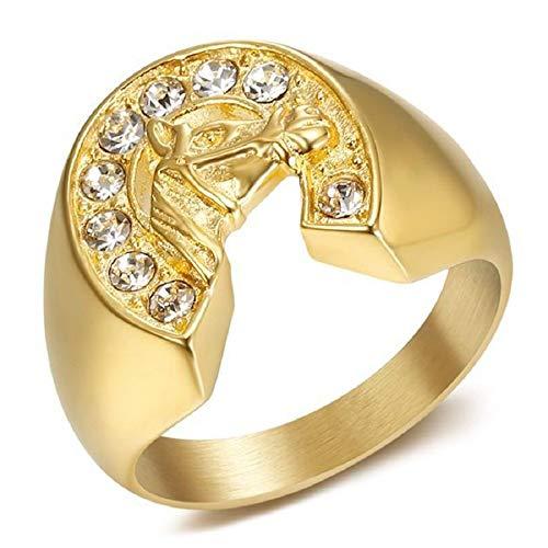 BOBIJOO JEWELRY - Anillo Anillo Anillo Hombre Mujer Herradura Moderno Diamantes De Imitación Acero Dorado Chapado En Oro - 17 (8 US), Dorado - Acero Inoxidable 316