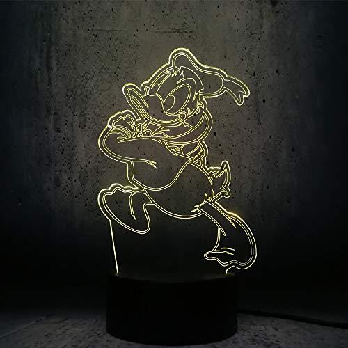 Led-nachtlampje met 7 kleuren wisselend nachtlampje, leuk donald duck, baby, kinderkamer, hal, kinderkamer, geschenk, vakantie