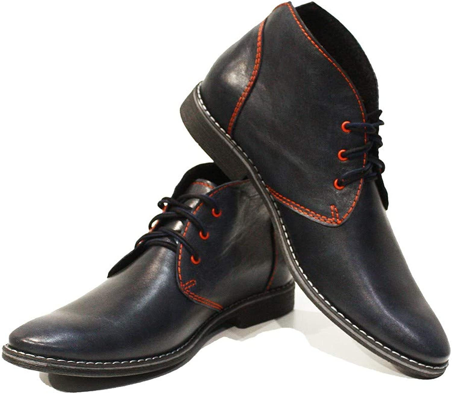 Peppeshoes Modello Giorgio - Handmade Italian Leather Mens color Black Ankle Chukka Boots - Cowhide Smooth Leather - Lace-Up