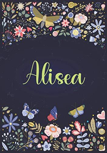 Alisea: Taccuino A5   Nome personalizzato Alisea   Regalo di compleanno per moglie, mamma, sorella, figlia ...   Design: giardino   120 pagine a righe, piccolo formato A5 (14.8 x 21 cm)