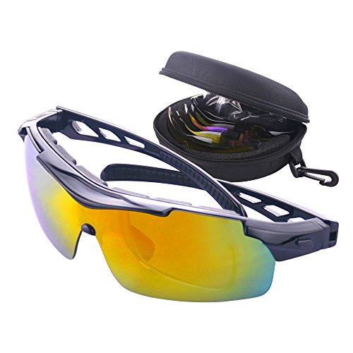 Gafas de Ciclismo Unisex Gafas de Sol de Deportivas Bici Polarizadas 5 Lentes Intercambiables para Hombre y Mujer Deporte Bicicleta Ciclismo Montaña MTB Conducir Pesca Ski Esquiar Golf Correr (Negro)