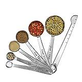 Unigear Messlöffel mit Meßlineal 7-teilig aus rostfreiem Edelstahl 304 für Trockene und Flüssige Zutaten, Backen, Proteinpulver, Soße MEHRWEG (7-teiliges-1)