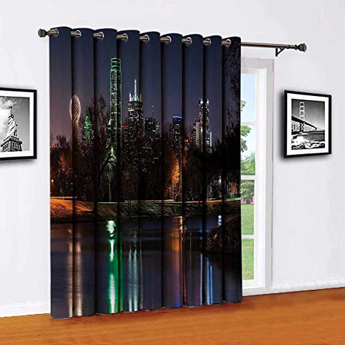 Toopeek Apartment Decor Collection Living room sliding door curtain Dallas Skyline Reflected in a Lake City Park Trees Night Landscape Scene View Office single panel W100 x L84 Inch Navy Blue Green