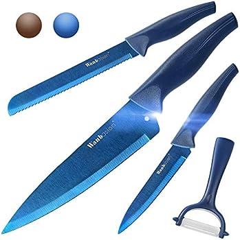 Wanbasion 4 Piece Kitchen Knife Sets with Sheath and Peeler (Blue)