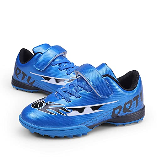 ElioGn Kids' Turf Soccer Shoes Indoor Football Outdoor Soccer Shoes Athletic Actual Combat Training Shoes(Little Kid/Big Kid) Blue 30