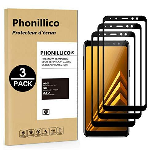 PHONILLICO [Pack de 3] Verre Trempe Bord Noir pour Samsung Galaxy A8 2018 - A530 - Film Protection 100% Intégral Ecran Verre Trempe Resistant [Lot de 3] Vitre Protecteur Anti Rayure