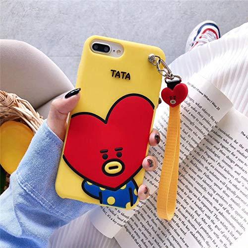 WHBDJ Estuche para teléfono con Correa de muñeca de Silicona Suave de Dibujos Animados Lindo iPhone 11 Pro X XR XS MAX 6S 7 8 6 Plus Funda Regalo para niña, C, para iPhone 7 8 Plus