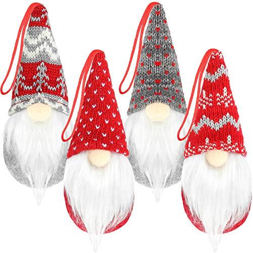 4 Stücke Weihnachtsbaum Hängenden Gnome Ornamente Handgemachte Elf Plüsch Ornamente Schwedischen Tomte Gnom Xmas Decor Plüsch Skandinavisch Weihnachtsmann Bart Ornamente für Valentinstag