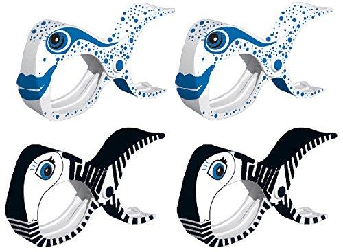 tuuli Accessories Große Clips Strand Klammern für Strandtuch Wäscheklammern Klammer Strandliege Yacht Kinderwagen Zubehör (2X Schwarz + 2X Weiss)