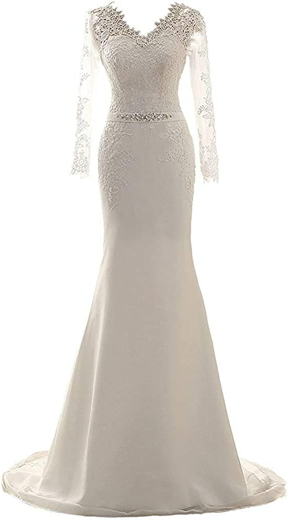 Melisa Women's V Neck Lace Beaded Mermaid Wedding Dresses for Bride with Train Long Sleeve Tulle Bridal Gown