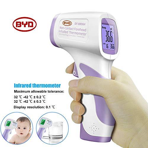 DQW Thermom/ètre dalarme Frontale Infrarouge Digital Medical Professional Pr/écis B/éb/é Enfants Adulte Avertissement