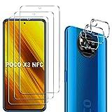 GESMA 3 Piezas Protector de Pantalla Compatible con Xiaomi Poco X3 NFC/Xiaomi Poco X3 Pro, 3 Piezas Protector de Lente de Cámara, Cristal Templado de HD Anti-arañazos