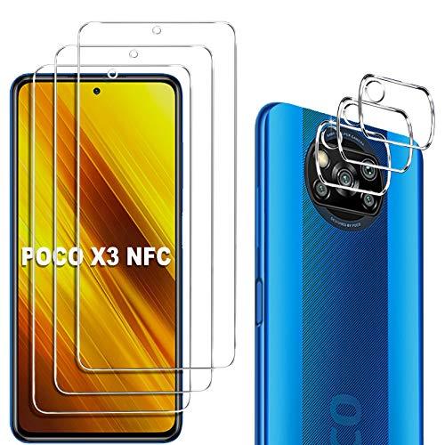 GESMA 3 Pezzi Vetro Temperato Compatibile con Xiaomi Poco X3 NFC Xiaomi Poco X3 PRO, 3 Pezzi Protezione Lente Pellicola Posteriore, HD AntiGraffio