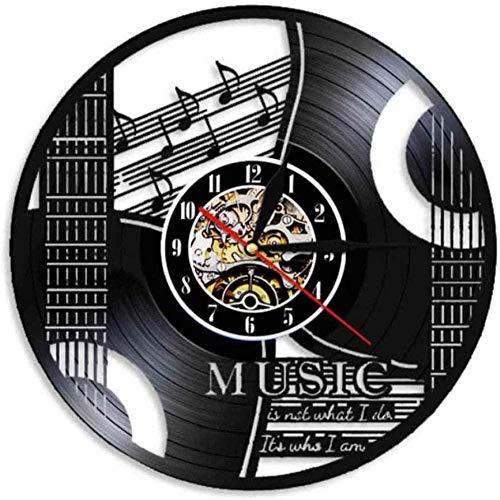ZZLLL Reloj de Pared de Vinilo Disco de Vinilo Guitarra música Reloj de Pared Disco de Vinilo Reloj Retro Hecho a Mano Estilo de Regalo Retro habitación decoración del hogar Reloj de Gran Regalo