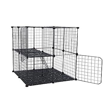 DIY Pet Playpen Wire Rabbit Cage for Kitten Chinchillas & Small Animals  Black