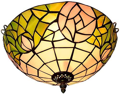 HKAFD Tiffany Style LED Lámpara de Techo Lámpara de Techo Blanco Verde 12 '' patrón lámpara araña para Comedor Sala de Estar balcón Dormitorio