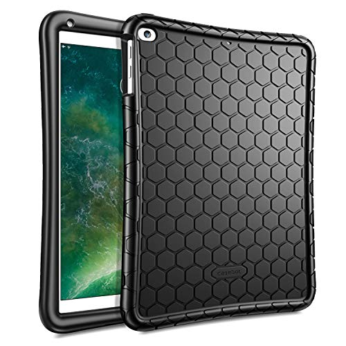 Fintie Case for iPad 9.7 2018 2017 / iPad Air 2 / iPad Air - [Honey Comb Series] Light Weight Anti Slip Kids Friendly Shock Proof Silicone Protective Cover for iPad 6th / 5th Gen, Black