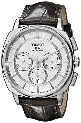 Tissot uomo 'T Lord' argento quadrante cinturino in pelle marrone cronografo automatico Watch t059.527.16.031.00