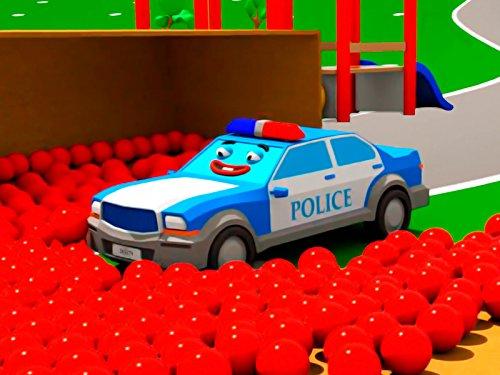 Farben lernen mit blauem Polizeiauto
