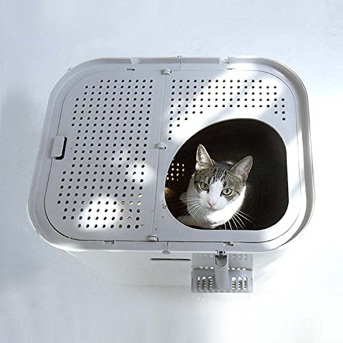 Modkat XL Litter Box, Top or Front-Entry Configurable, Includes Scoop and Liners - White