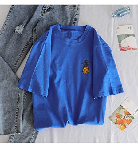 Camiseta De Manga Corta con Cuello En O Camiseta Holgada con Estampado De Frutas Camiseta para Mujeres Y Niñas Camiseta Rosa Blanca Tops Aplicar Al Ejercicio De Uso Diario Correr Etc.-Xian_507_LAN_M