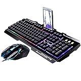 Easyeeasy Juego G700, Juego de Teclado y ratón USB con Cable Luminoso con luz de Fondo de arcoíris, Luces LED, Teclado mecánico, ratón para Juegos