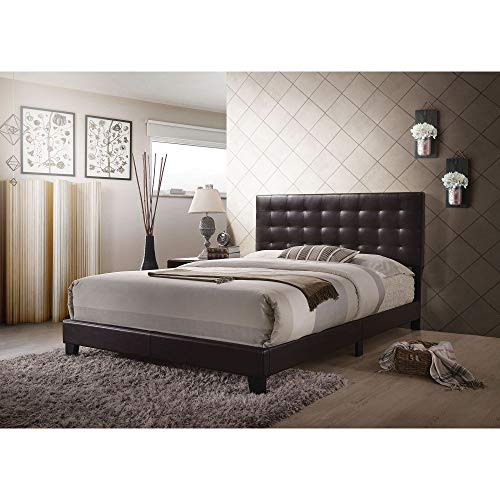 Knocbel Contemporary Queen Bed Frame with Buttonles Tufted Headboard, Faux Leather Upholstered Platform Bed with Slats Support (Espresso)