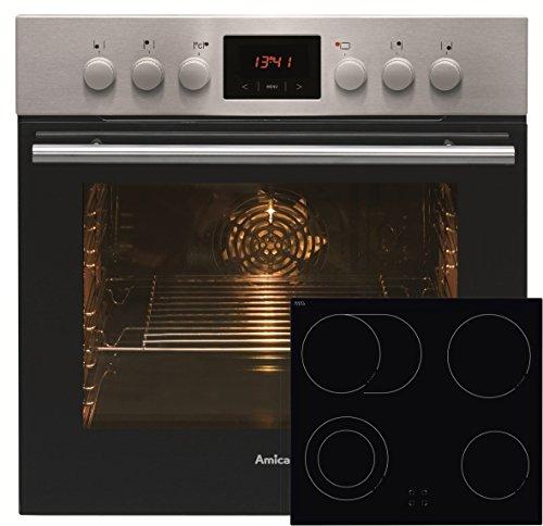 Amica EHC 12550 E Einbauherd-Set mit Glaskeramik-Kochfeld, SCHOTT CERAN® - Edelstahl
