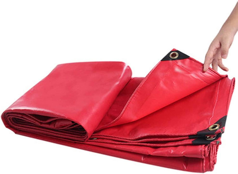 DGLIYJ 防水シート、厚い防水防水シート多機能雨防止日焼け止めキャンバストラック防水シート/赤いテント450 G (Size : 6x8m)