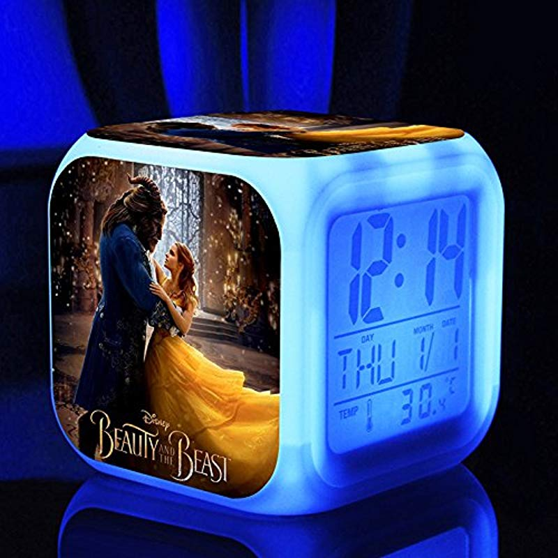 Enjoy Life Cute Digital Multifunctional Alarm Clock With Glowing Led Lights And Beauty And The Beast Sticker Good Gift For Your Kids Comes With Bonuses 03
